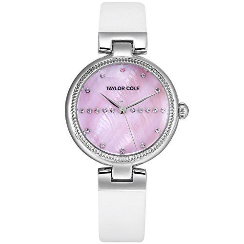 TAYLOR COLE TC115-Orologio donna semplicistico, elegante orologio da polso al quarzo analogico cinturino in pelle con indicatori di cristallo