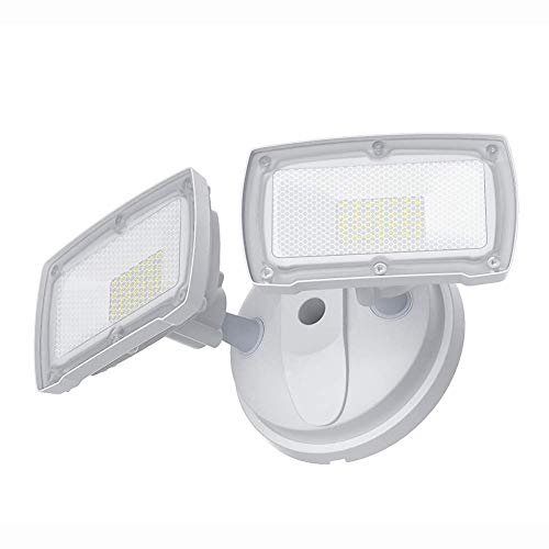 3000LM Dusk to Dawn Security Light, GLORIOUS-LITE 28W Flood Lights Outdoor, IP65 Waterproof, ETL Listed, 5500K White Light, Adjustable 2 Heads Wall Exterior Light for Backyard, Patio(No Motion Sensor)
