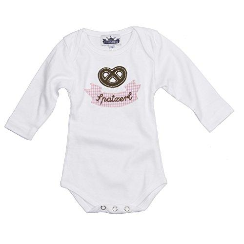 Eisenherz Baby Body Langarm rosa Spatzerl und Breze in verschiedenen Größen - süßer Trachtenlook Größe 68