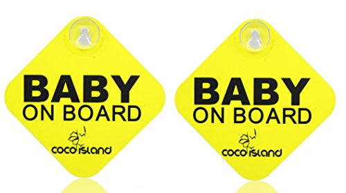 cocoisland Baby on board with Suction Disks Sign, (5 X 5) by Coco Island