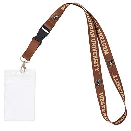 Western Michigan University WMU Broncos Car Keys College ID Badge Holder Lanyard Keychain Detachable Breakaway Snap Buckle (w/Pouch Brown)