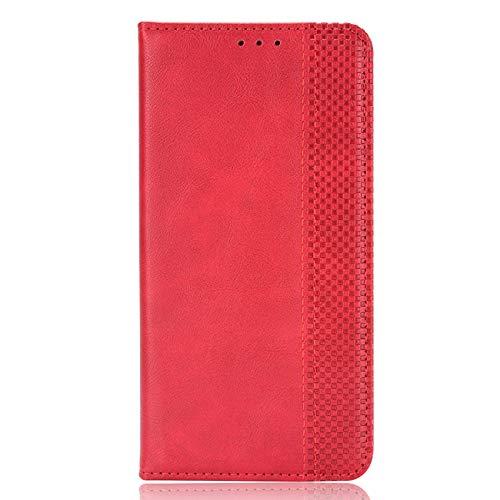 TOPOFU Funda para Samsung Galaxy M32/A22 4G, [Vintage de Billetera Cuero de la PU] Magnético Carcasa con Tapa Abatible y Ranuras para Dinero y Tarjeta de Crédito para Samsung Galaxy M32/A22 4G-Rojo