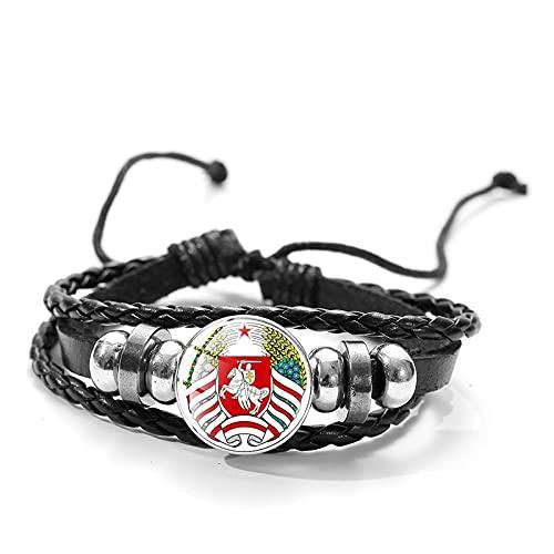 Inveroo Vintage República de Bielorrusia Caballero Blanco Pulsera de cabujón de Cristal Hecho a Mano Cuerda Wrap Pulseras y brazaletes de Cuero Trenzado Regalo de los Hombres