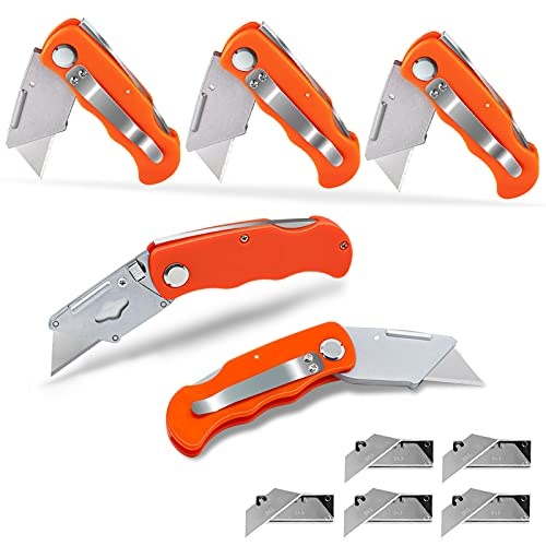 5 Pack Folding Utility Knife with Fixed Blade Includes 50 Extra SK5 Blades Lock-Back Design Pocket...