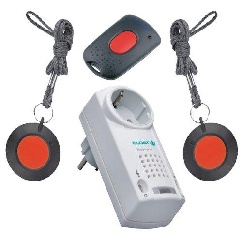 ELDAT Praxis Set: Notrufsystem für Physiotherapie Praxen und häusliche Pflege mit 2 Funksendern und Quittierungssender; Funk Notrufanlage Patientenruf; Hausnotruf intern; Notrufknopf für Senioren