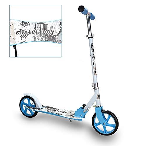 VINGO Kinderroller 205mm, Kinderscooter ab 5 Jahre, Klapp Kinder Roller, klappbar Kinderroller mit 2 Radern Höhenverstellbar Sichere Premium Kinder Roller (Blau)