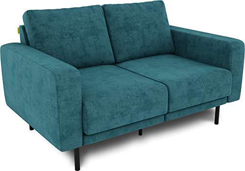 KAUTSCH Mette Zweisitzer Sofa für Wohnzimmer zerlegbar - Couch 2-sitzer- Polstersofa - B 150 cm - ohne Longchair, Petrol - mit Metallfüße