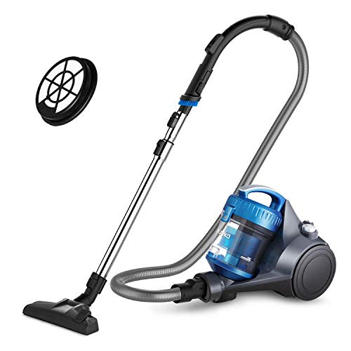 Eureka NEN110B Whirlwind Bagless Canister Cleaner, Lightweight Corded Vacuum for Carpets and Hard Floors, w/Filter, Blue (Renewed)