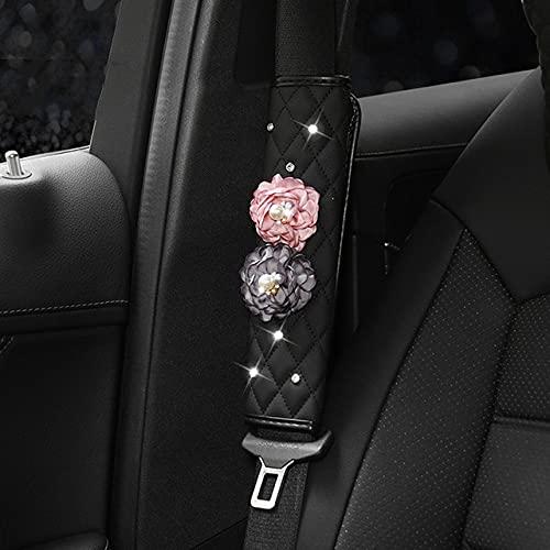 Señoras moda únicaflor color de rosa cinturón de seguridad hombro freno de mano cubre reposacabezasalmohada lumbar suite decoración interior del coche, cubierta del cinturón de seguridad