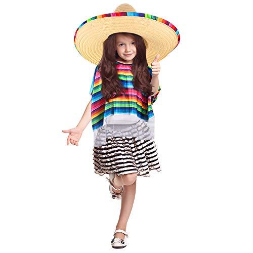 SATINIOR Disfraz de Poncho de Sarape Mexicano Sombrero Mexicano con Borde y Banda de Sarape de Arco Iris (Niño)