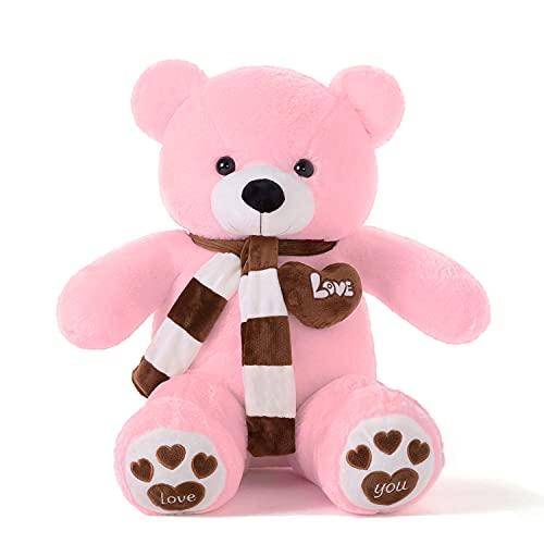 YunNasi Teddybär Groß Riesen Teddy Bär Rosa 80cm Plüschtier Kuscheltier Stofftier mit Schal