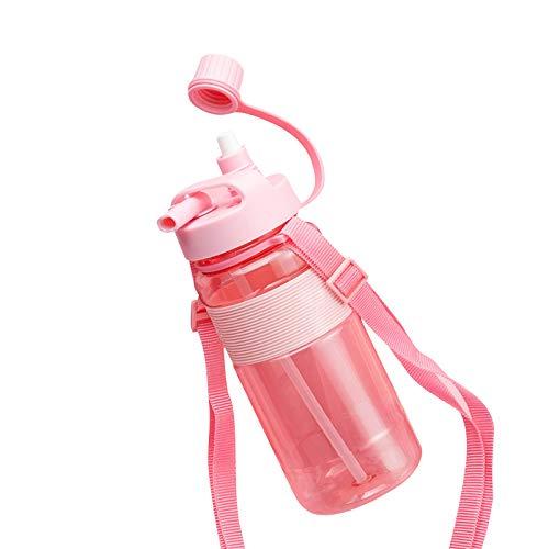 Hwtcjx botella gimnasio 700ml, botella agua sin BPA, 1 pieza botella deportiva, Hecho de material PP, seguro y no tóxico, sellado y a prueba de fugas, portátil, para caminar, acampar, escalar (Rosa)