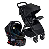 Britax B-Clever Lightweight Stroller B-Safe 35 Infant Car Seat Travel System with Child Tray One Hand, Easy Fold Ventilated Canopy Cool Flow Ventilated Fabric, Cool Flow Teal Amazon Exclusive