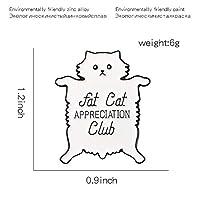 漫画かわいい白い横になっている太った猫エナメルピン '太った猫感謝クラブ'バッジブローチ男性女性子供友達のためのギフトジュエリー