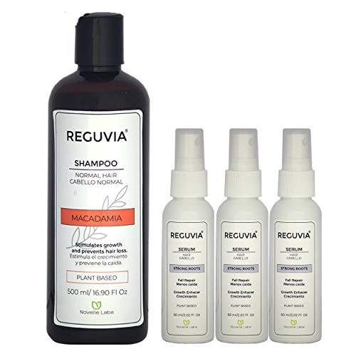 Kit Anti caída y reforzamiento de Cabello Shampoo Macadamia Reguvia + Tratamiento para 3 meses Strong Roots by Reguvia