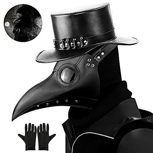 kungfu Mall 1 máscara de Doctor de Plaga y 2 Guantes de Fiesta para Disfraz de Halloween Accesorio de Vestido (Negro)