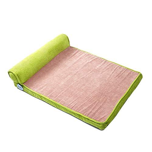 Hundebett Orthopädische, Großer Fressnapf Cot-Matte für Hunde Und Katzen, Anti-Slip mit Waschbarer Abdeckung (Color : Green, Size : 60×80CM)