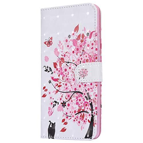 Herbests Kompatibel mit Xiaomi Redmi S2 Lederhülle Kristall Bling Glänzend Glitzer Hülle Superdünn Leder Tasche Klappbar Handyhülle Flip Hülle Cover Handytaschen,Rosa Kirschblüten Baum