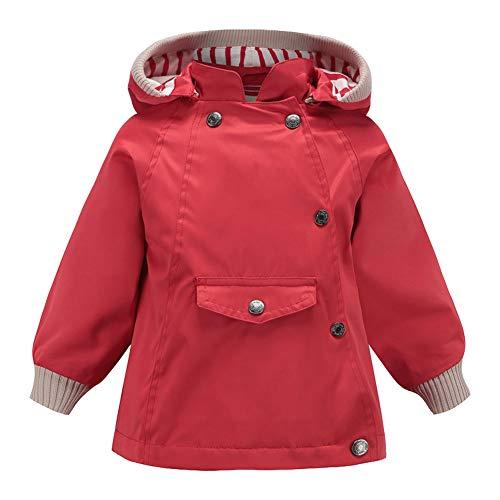 SXSHUN Jungen Mädchen Trenchcoat Mit Kapuze Windjacke Übergangsjacke Windmantel Frühling Herbst, Rot, 104/110(Etikettengröße:110)
