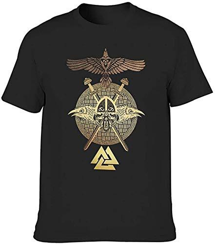 Golden Viking Helmet Raven Totem Odin Printed T Shirt for Men Casual Tribal Summer tee Tops,Black,3X-Large