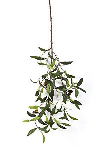 artplants.de Olivenzweig, 6 Oliven, 90 Blätter, grün, Deluxe, 65cm - Künstlicher Olivenzweig - Deko Zweig