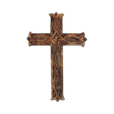storeindya Wooden Celtic Cross Long Wall Hanging French Cross Plaque Hand Carved Antique Design Religious Altar Home Living Room Décor Accessory (Alluring Collection (18x12x0.75))