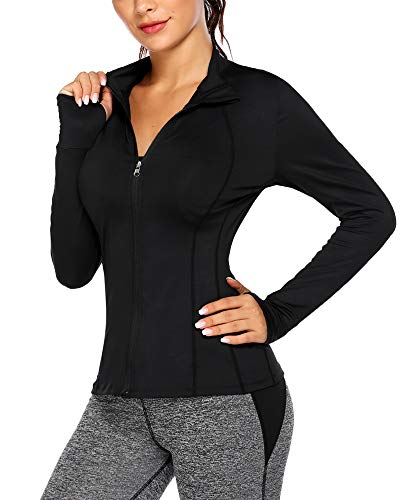 COOrun Track Jacket for Women Workout Yoga Sports Top Zip Up Running Jackets Warm-up Jacket, Plus Size