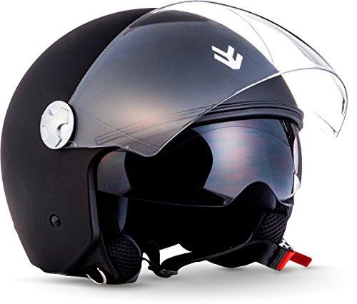 "ARMOR HELMETS® AV-63 ""Matt Black"" · Jet-Helm · Motorrad-Helm Roller-Helm Scooter-Helm Moped Mofa-Helm Chopper Retro Vespa · ECE 22.05 Sonnenvisier Schnellverschluss Tasche XXL (63-64cm)"