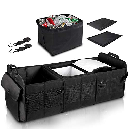 GEEDAR Trunk Organizer with Cooler Large Trunk Organizer with Built-in Leak-proof Cooler Bag for SUV Toyota Hyundai Mazda KIA Subaru Accessories Christmas Gifts
