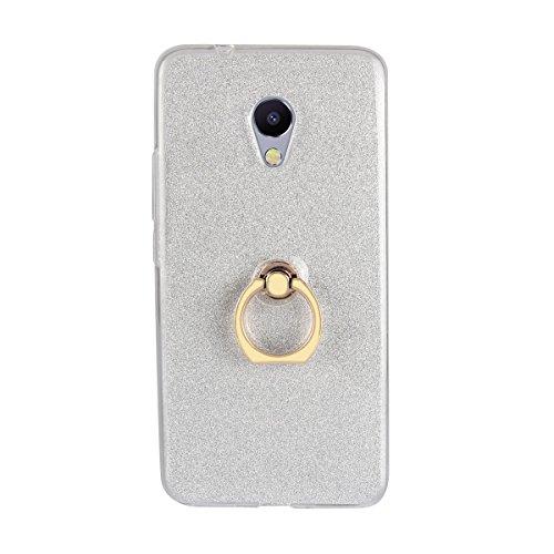 Sunrive Kompatibel mit Meizu MX4 Pro Hülle,360 Grad drehender Ring Kickstand Schutzhülle Etui weiche TPU Abdeckung + Glitzer Bling Papier Hülle TPU MEHRWEG (Ring Weiß)
