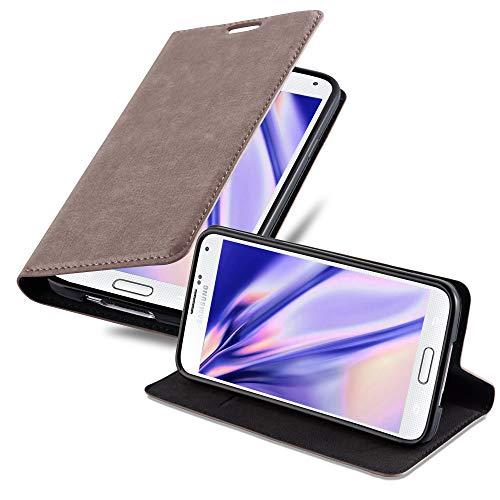 Cadorabo Hülle für Samsung Galaxy S5 Mini / S5 Mini DUOS in Kaffee BRAUN - Handyhülle mit Magnetverschluss, Standfunktion & Kartenfach - Hülle Cover Schutzhülle Etui Tasche Book Klapp Style