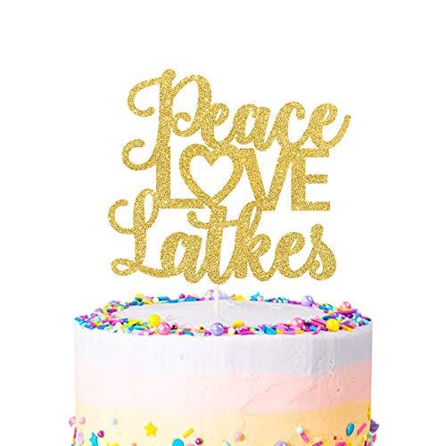 Peace Love Latkes Cake Topper,Happy Hanukkah,Mazel Tov Cake Decor,Chanukah,Happy Diwali Cake Topper,Jewish Holiday Party Decorations