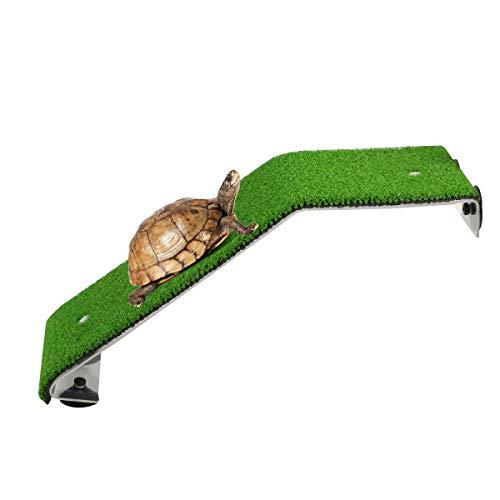SOONHUA Schildkröte Aalen Plattform Aquarium Aquarium Rampe Leiter Lebensechte Grüne Rasen Ruheterrasse für Schildkröten Frösche Molche Salamander