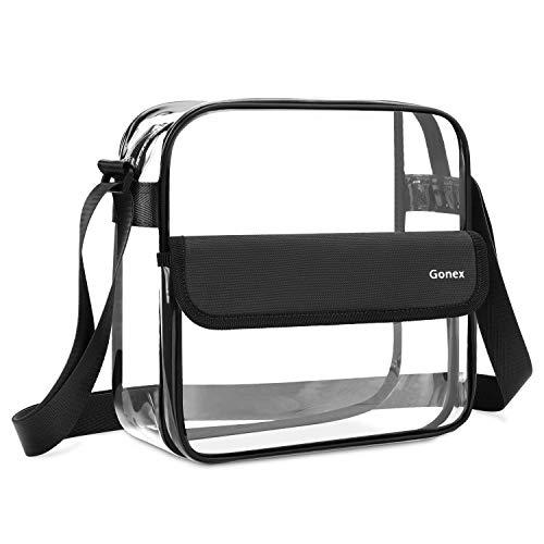 Gonex Clear Crossbody Tote Bag, NFL Stadium Approved PVC Transparent Messenger Shoulder Bag, See Through Bag for Women Black