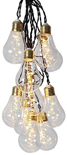 netproshop LED Lichterkette Glühbirne aus Glas Retro Design 10 Lichter Indoor