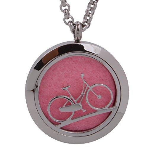 自転車 ステンレス製 エッセンシャルオイル ディフューザ アロマ ロケット ネックレス