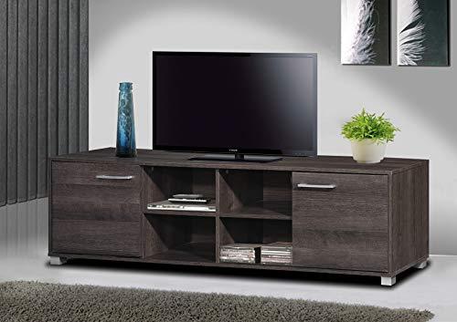 TADesign Robust Engineered Wood TV Stand & Home Entertainment Unit (Charcoal Oak, Matte Finish, German Melamine Laminate)