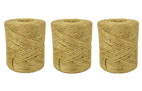 Natural Jute Twine String for Crafts 1200 Ft - 3 Rolls - 2ply Art and Crafting String - DIY Craft Projects - Gift Wrapping Rope - Rustic Wedding Decor - Macrame - Crafting