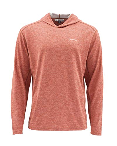 Simms Bugstopper 50+ UPF Hoody Shirt, Bug Repellent Hoodie Top, Simms Orange XXL
