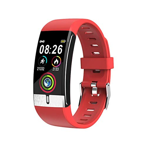 JIAJBG Moda E66 Inteligente Reloj Ecg Temperatura Oxígeno Presión de Medición Del Ritmo Cardíaco Sangre Pulsera de Salud Venda de la Aptitud Inteligente Pulsera noble/Rojo