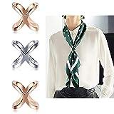 3 piezas / hebilla de bufanda simple, oro y plata en forma de X, elegante, cruzada, hueca, de seda, para bufanda, clips, anillos, hebilla de bufanda