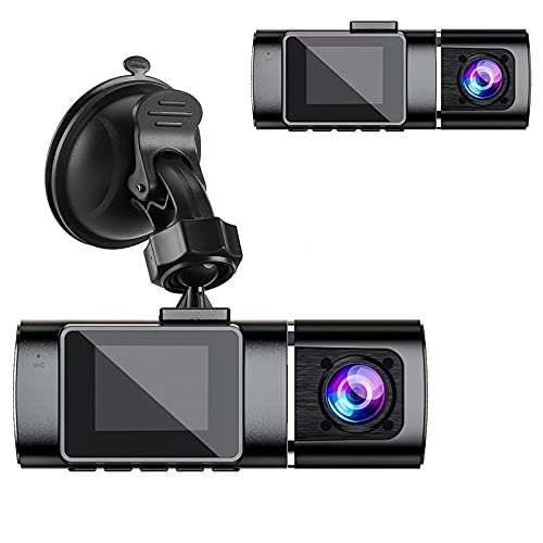 Dash Cam |1080P + 720P Driving Recorder, with Infrared Night Vision Built-in Camera, Parking Mode, G Sensor, Loop Recording 1.5 inch LCD Display (Including 16G Memory Card)