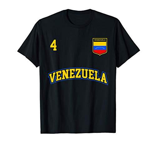 Equipo Deportivo Fútbol Venezuela No 4 Bandera venezolano Camiseta