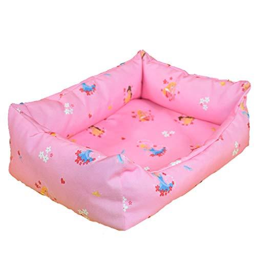 BEAAE-net kat hondeneststof + canvas zacht waterdicht wasbaar duurzame mand hondenbed kleur roze