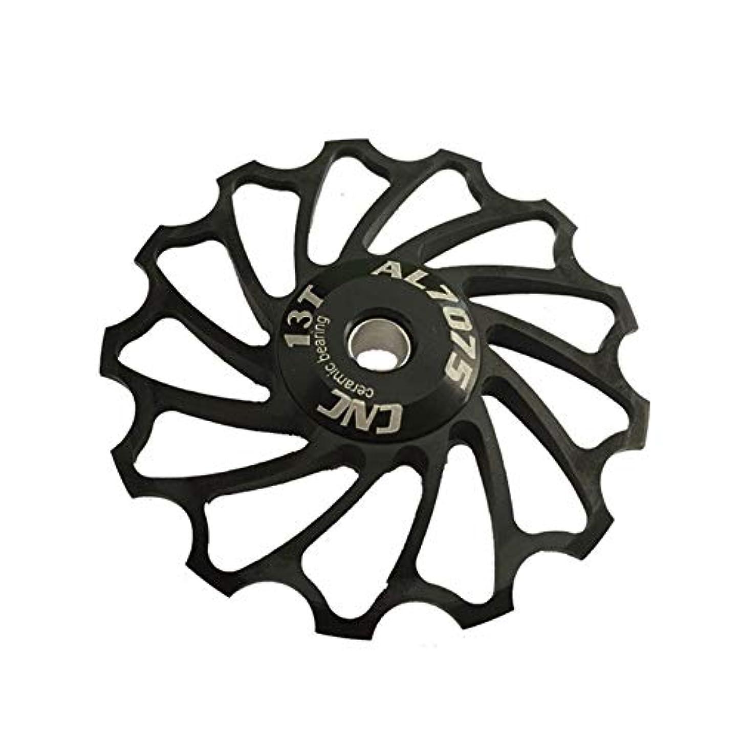 雨シットコム慈悲深いPropenary - Cycling bike ceramics Jockey Wheel Rear Derailleur Pulley 13T 7075 Aluminum alloy bicycle guide pulley bearing bicycle parts [ Black ]