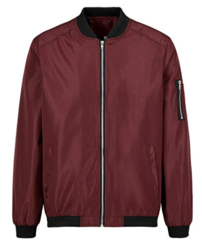 Mens Bomber Jacket Lightweight Casual Coat Slim Varsity Letterman Jacket Long Sleeves Red
