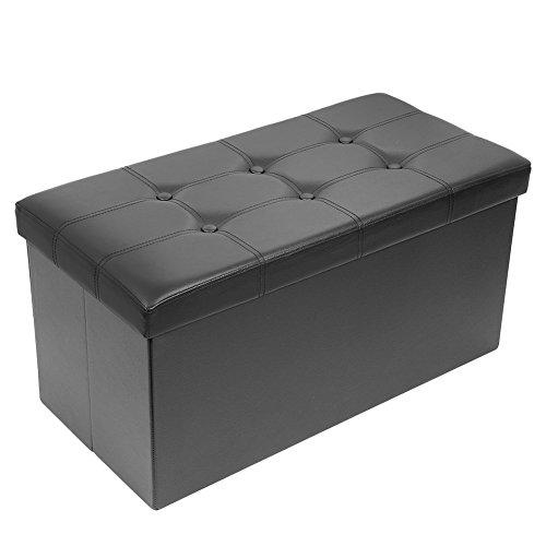 Meerveil Coffre de Rangement Pliable, Bac de Rangement en Simili Cuir Ottoman Confortable Cube de Repose-Pieds Banc d'Éponge avec Boucle (Noir, 76_x_38_x_38_cm)