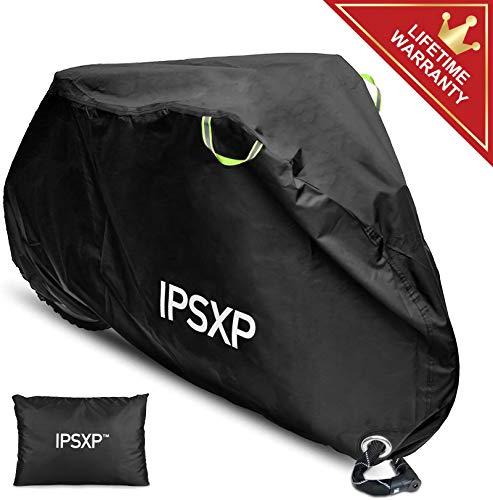 IPSXP Fahrradabdeckung Abdeckplane, 210D Oxford-Gewebe Fahrrad Schutzhülle Fahrradgarage mit Abschließbar Loch für 29 Zoll Universal Fahrrad Mountainbikes Rennräder Motorrad (208 x 112 x 76 cm)