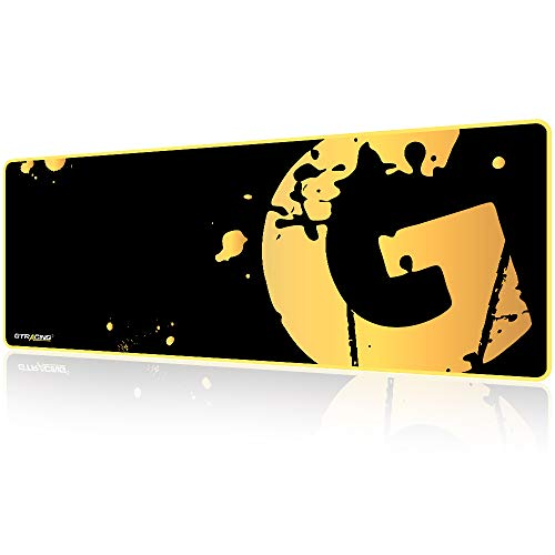 GTRACING Gaming Mouse Pad Large, Extended Mousepad with Stitched Edges, Non Slip Rubber Base, Waterproof XL Size Keyboard Pad, Mouse Mat for Gamer, Office and Home, 31.5x11.8 in,Golden