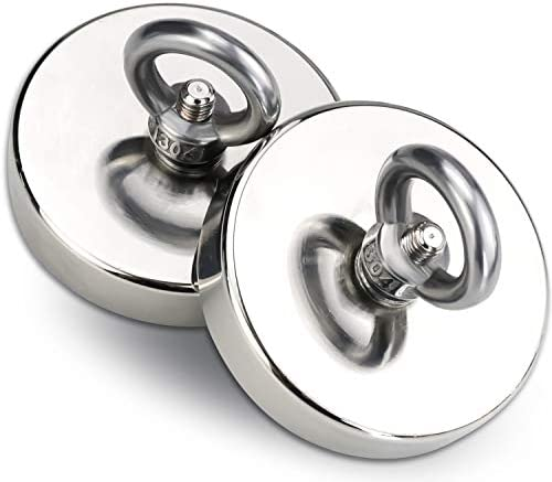 DIYMAG 2Pack 270 lbs 123 KG Pulling Force Powerful Fishing Magnets with Countersunk Hole Eyebolt product image